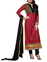 Admyrin Red Georgette Salwar Suit With Black Chiffon Dupatta