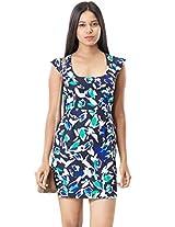Roving Mode Women's Petal Print Dress, Navy Blue, Medium