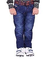 OKS Junior Blue Denim Printed Pant For Boys | OKJ1164DNM