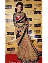 Jacqueline Fernandez Beige Designer Net Sari