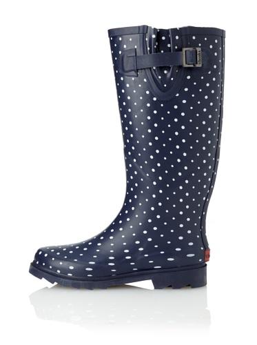Chooka Women's Posh Dots Rain Boot (Navy)