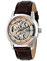 Stuhrling Original Men's 837.04  Delphi Automatic Skeleton Rose Dial Brown Watch