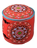 Attractive Ottoman Red Cotton Floral Embroidered Pouf Cover By Rajrang