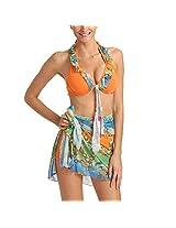 Exotic 3 Pcs Multi Orange Ruffle Halter Tie Bikini Set Sarong With BoyLeg Bottom Wrap