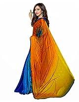Shoppingover Saree in Satin Jacquard (Blue)