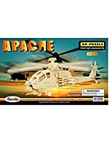 APACHE plane 3D Woodcraft Puzzle ~ Fun Kids construction Kit ~ Natural Wood 80 pieces ~ Holiday Chri