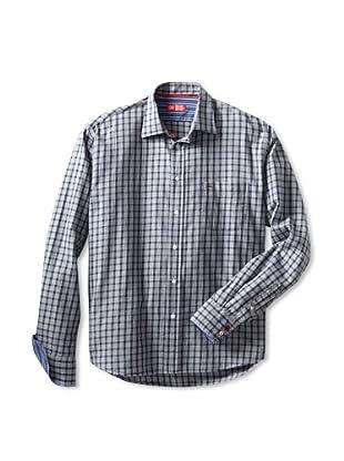 Rufus Men's Casual Button-Up Shirt (Blue Plaid)