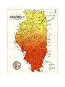 """Illinois Gradient Map, Orange/Yellow, 40"""" x 32"""""""