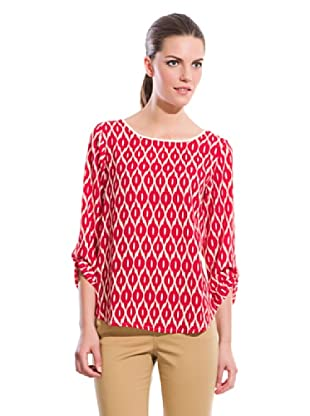 Cortefiel Camisa Estampado Rombos (Rojo)