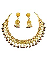 Traditional Red, Green & White Stone & Gold Plated Necklace & Zumkha Earring Fashion Jewellery Set for Women