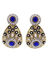 Hyderabadi Abhushan earrings gold with blue color stones