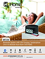 iHome Bluetooth Speakerphone with USB Charging Line-in Plus Alarm Clock Radio - iBT230