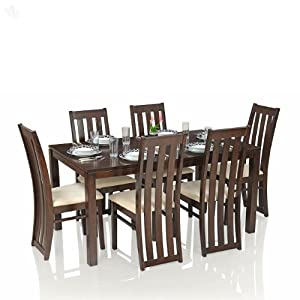 Dining Table Set with 6 Chairs Solid Wood - Striped