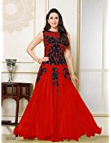 Karishma Kapoor Red and Blue Sleewless Anarkali suit uf782022