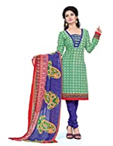 BanoRani Womens Green Color Casual & Printed PolyCotton Ladies Unstitched Salwar Suit Dress Material with Printed Dupatta