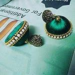 Green silk thread jhumki