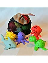 BeginAgain Bathtub Pals 5 Pc Gift Set - Eco Friendly Rubber Bath Toy - Diver, Octopus, Sea Turtle, Puffer Fish, Shark