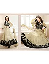 Clickedia Beautiful Beige anarkali with contrast black embroidery