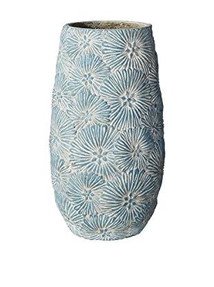 Outdoor Jarrón Grabado Cemento Flor Azul