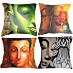 Set of 4 Belkado Digital Print `Indian Saints` Cushion Covers