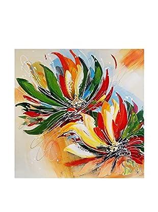 Arte Dal Mondo Lienzo Edgar Ramirez Fiori Multicolore