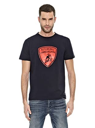 Lamborghini Camiseta Taped Shield (Marino / Naranja)
