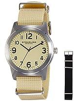 Stuhrling Original Aviator Analog Champagne Dial Men's Watch - 409.SET.01