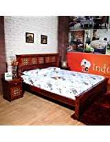 INDUSCRAFT BRASS FITTED SOLID WOOD BEDROOM SET in KING SIZE