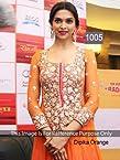 1005-Deepika Padukone Orange Anarkali Suit At Promotes Ramleela