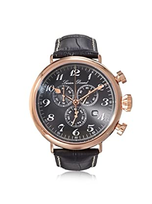 Lucien Piccard Men's 72414-RG-01 Trieste Black Textured Leather Watch
