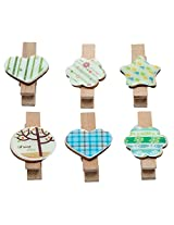 Wooden Clips Set of 6 Decorative Colour Full ...collection Tree Heart