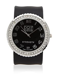 Rolf Bleu Rhinestone Silicone Slap Watch (Black)