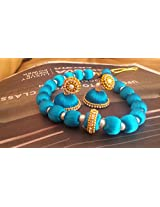 blue necklace with jumka
