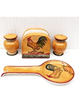Tuscany Province Sunshine Rooster, Hand Painted Ceramic 4pcs Stove Top Set, 89325/28 by ACK