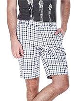 Zobello Men's Mens Yarndye Golf Shorts (31033F_White Heather Navy Tartan Plaid_37)