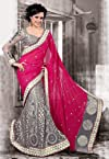 Dark Pink Faux Georgette and Net Saree with Blouse