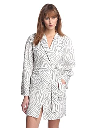 Aegean Apparel Women's Zebra Minky Robe (Gray/White)