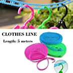 5 Meters Windproof Anti-Slip Clothes Washing Line Drying Nylon Rope with Hooks - For Home, Outdoor, Camping Uses - 1 Pc (Colors May Vary)