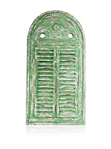 Esschert Design Mirror Louvre Distressed (Green Finish)