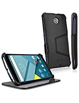 BoxWave Google Nexus 6 Leather Book Jacket - Protective Synthetic Leather Folding Folio Cover with Built-In Viewing Stand - Google Nexus 6 Cases and Covers (Nero Black)