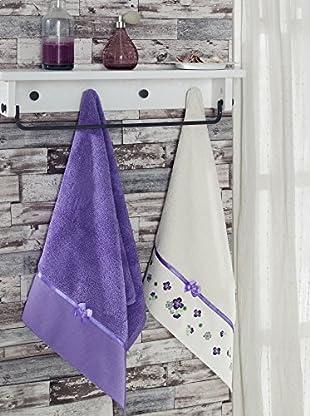 Homemania Handtuch 2er Set Elegance purpur 50 x 90 cm