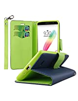 LG G Stylo Case, MPERO FLEX FLIP 2 Series Premium PU Leather Wallet [3 Pockets] Inner Flexible TPU Slim Fit Case for G Stylo with Magnetic Flap & Hand Strap - Blue with Neon Green Interior