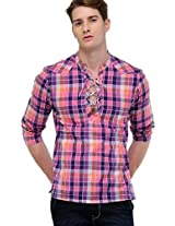 Pink Checks Slim Fit Kurta