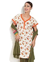 DIVA Printed Kurti With Embroidery And Lace, off white, l