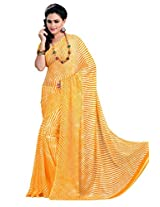 Vibes Chiffon Patch Work Saree (S35-405C _Yellow)