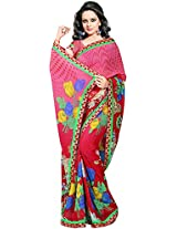 Shree Bahuchar Creation Women's Chiffon Saree(Sbk3, Red)