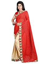 Vibes Women's Bhagalpuri Art Silk Saree,With Blouse (S54-VBK160_Red)