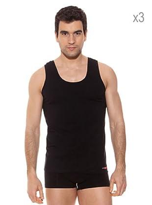 Pierre Cardin Pack x 3 Camisetas Tirantes (Negro)