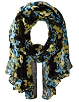 RAMPAGE Women's Watercolor Floral Light Weight Oblong Scarves, Black Multi, One Size