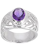 925 Sterling Silver & Natural Faceted Amethyst Gemstone Men's Ring